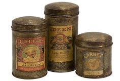 S/3 Vintage Spice Canisters, Small on OneKingsLane.com