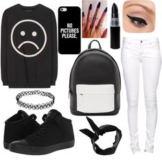 black & white by luvjb00 on Polyvore featuring polyvore moda style Marc by Marc Jacobs Citizen of Humanity Converse PB 0110 Casetify Boohoo LORAC