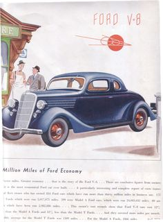 1930's Vintage Ad Ford V-8, Saturday Evening Post
