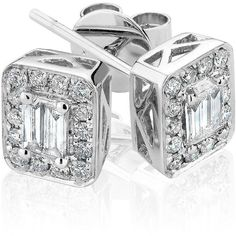 Reeds Baguette And Round Diamond 14k White Gold Earrings 1/2ctw ($1,518) ❤ liked on Polyvore
