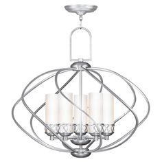 5-light chandelier with hand-blown satin glass shades.   Product: ChandelierConstruction Material: Metal and gl...
