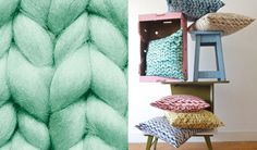 big chunky knitted pillows?  gotta find a pattern.