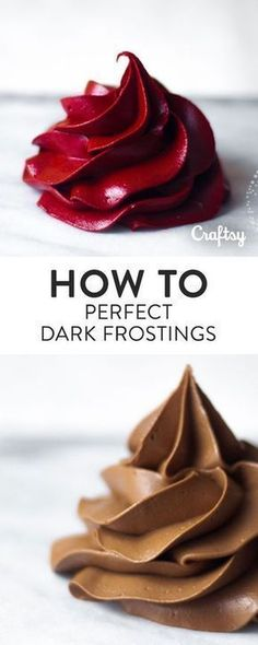 No more deep, dark frostings that taste like food coloring or loses consistency!… No more deep, dark frostings that taste like food coloring or loses consistency! Once your try this delicious dark frosting recipe you'll never want to go back! Cake Decorating Techniques, Cake Decorating Tips, Cookie Decorating, Cake Decorating Frosting, Cupcake Recipes, Cupcake Cakes, Dessert Recipes, Icing Recipes, Mini Cakes