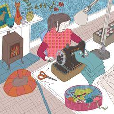 Pretty sewing illustration by my friend Trina Dalziel