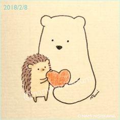 Bear and Hedgehog carry each others hearts forever and ever Hedgehog Drawing, Hedgehog Art, Cute Hedgehog, Kawaii Drawings, Easy Drawings, Hedgehog Illustration, Cute Kawaii Animals, Kawaii Doodles, Dibujos Cute