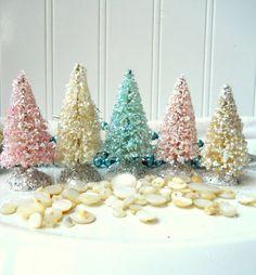 Bottle brush Christmas trees 5 small vintage by hopeandjoystudios, $20.00