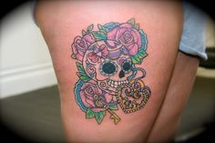 Candy skull on thigh