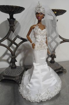 Great Gatsby inspired wedding dress   designer doll couture, hand-made silk satin fabric with beaded lace trim.