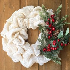 Burlap wreath, winter wreath, Rustic Christmas wreath, Rustic Christmas wreath, evergreens and berries