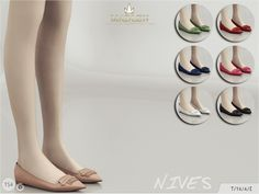 Pointed-toe flats. Come in 7 colours (suede texture). Found in TSR Category 'Sims 4 Shoes Female'