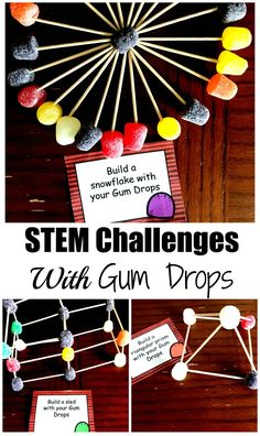 These STEM cards will challenge your children to build Gum Drop Structures. Half of the STEM cards have a Christmas Theme, while the others focus on shapes.