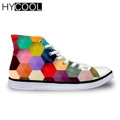 HYCOOL 2017 Canvas Shoes Skateboarding Shoes For Men Women Colorful Geometric Pattern High Top Boy Girl Cute Sneakers Gift