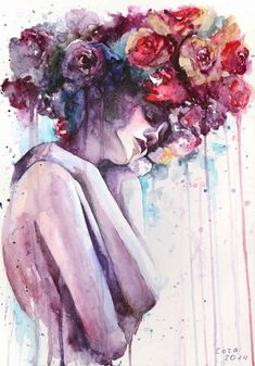 her flowering memories by cora tiana - Watercolor Paintings by Cora and Tiana Watercolor Face, Watercolor Portraits, Watercolor Illustration, Watercolor Paintings, Landscape Illustration, Watercolors, Art Aquarelle, Portrait Art, Art Blog