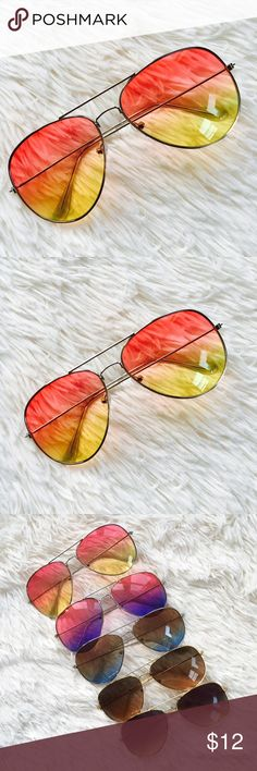 Oversized Ombré Sunglasses in Peach and Yellow☀️ Fun oversized ombré sunglasses. Sunglasses have a top bar and silver arms. These sunglasses are lighter weight than my mirrored sunglasses and are priced accordingly. Other colors available in separate listings.💕 Accessories Glasses