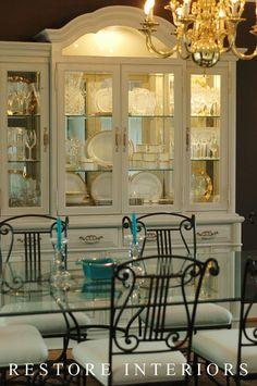 Mirrors instead of wallpaper? painted china cabinet and hardware China Cabinet Redo, Painted China Cabinets, Cabinet Decor, Curio Cabinets, Cabinet Makeover, Furniture Making, Home Furniture, Painting Furniture, Repurposed Furniture