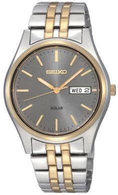 0516d930a7d Seiko Men s 2-tone Stainless Steel Gray Dial Solar-Powered Watch - 8571357