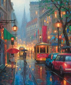 A large art gallery in Fuquay-Varina, NC, near Raleigh, features artwork from some of the top artists painting today. City Painting, Light Painting, Light Art, Large Art, City Lights, Beautiful Artwork, Land Scape, Cross Stitch Patterns, Cross Stitches
