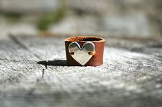 Sterling Silver Heart and Leather Ring