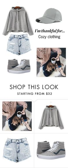 """Grey Cozy Outfit"" by inspiredstxles ❤ liked on Polyvore featuring Chicwish, Boohoo, Vans, WithChic and imthankfulfor"