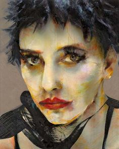 Coco Chanel model, by Lita Cabellut. Love the large format painting