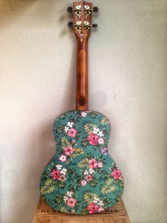 Ukulele decal of vintage hawaiin flower and palm by UkealooDesigns