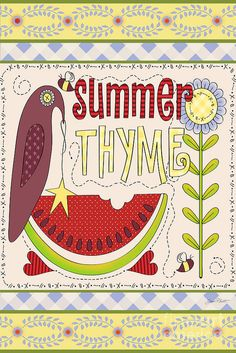 Jean Plout Print featuring the painting Summer Thyme-jp2832 by Jean Plout