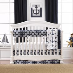 Looking For Nautical Crib Bedding Your Baby S First Nursery Our Navy Anchors And Geometric Print Creates A Modern Look In Themed