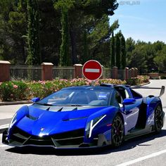Lamborghini Veneno painted in Rosso Veneno, but photoshopped in Blue Photo taken by: @autogesopt on Instagram Photoshopping by: @v12_car on Instagram