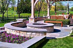 Round, Fire Pit, Masonry, Stone, Gas Fire Pit Romani Landscape Architecture Glencoe, IL