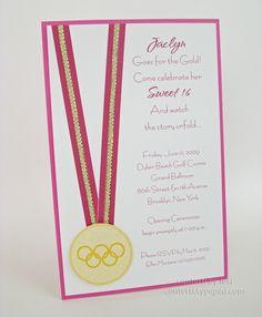 Pink gold medal invite