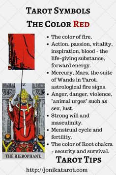 #Tarot #Tips, The color RED in Tarot. Check out my blog | Sign up for my newsletter jonikatarot.com/