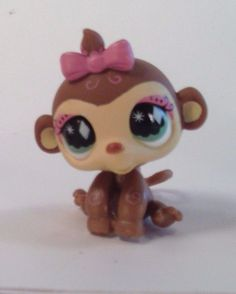 Littlest Pet Shop LPS Hasbro Figure #501 Monkey Orangutan with bow Tubes Spring