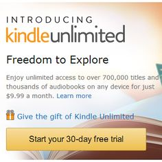 Kindle Unlimited : 30-Day Free Trial http://www.mybargainbuddy.com/kindle-unlimited-30-day-free-trial