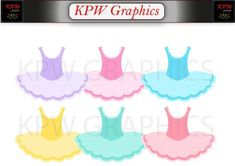 Colorful Ballerina Dresses in a PNG format. Personal & Small Commercial use