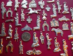 50 SILVER Import Mexican Milagros Shiny Good Luck Ex Votos Dijes Miracle Charms