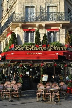 Nothing like Paris to put you in the mood for holiday shopping - Les Champ de Mars, Paris, France Paris Travel, France Travel, Restaurant Paris, Restaurant Facade, Paris Restaurants, Christmas In Paris, Christmas Windows, Christmas Time, Sidewalk Cafe