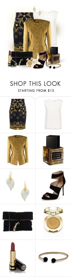 """The Golden Glow"" by art-n-soul ❤ liked on Polyvore featuring Versace, Finders Keepers, Rena Lange, Yves Saint Laurent, Carvela, Dsquared2, Milani, Gucci and David Yurman"