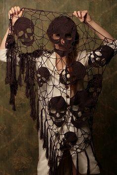 Crochet Skull Shawl: http://skullappreciationsociety.com/crochet-skull-shawl/ via @Skull_Society