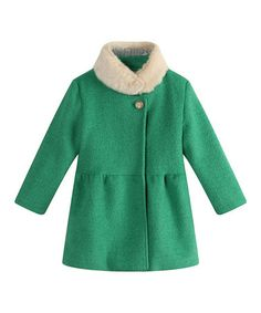 Look what I found on #zulily! Kelly Green Faux Fur Peacoat - Toddler & Girls by Richie House #zulilyfinds