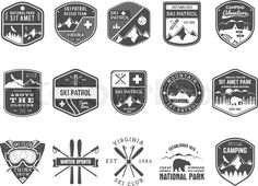 Stock vector of 'Set of Ski Club, Patrol Labels. Vintage Mountain winter camp explorer badges Outdoor adventure logo design. Travel hand drawn and hipster monochrome insignia. Snowboard icon symbol. Wilderness. Vector'