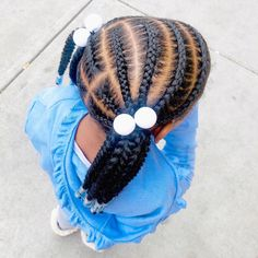 Loving these low ponytails 💙 Cute Little Girl Hairstyles, Little Girl Braids, Baby Girl Hairstyles, Natural Hairstyles For Kids, Kids Braided Hairstyles, Natural Hair Styles, Children Hairstyles, Braided Updo, Wedding Hairstyles