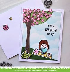 Lawn Fawnatics Challenge 101 – Travel Destination/Favorite Place   Lawn Fawnatics Beach At Night, Birthday Sentiments, Lawn Fawn Stamps, Love Challenge, Winter Sky, Distress Oxide Ink, Relaxing Day, Tiny Flowers, Kind Words