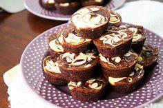 A box mix jump-starts this easy bite-sized cheesecake-swirled brownie bites recipe! Sunnysideups.org