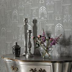 Sophie Conran Opening Doors Wallpaper, Ash | ACHICA