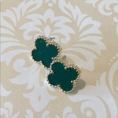 Emerald Green Clover Style Earrings Emerald Green with Gold Trim over style earrings Bchic Jewelry Earrings