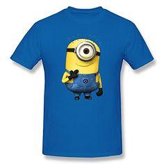 WAYNEY Custom Despicable Me 2 MinionsMinion Short Sleeve Cotton Shirt For Man RoyalBlue Large