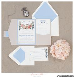 Pastel blue and blush invitation suite. Love the floral touches and the bird! Secret Garden Styled Shoot, invitations by Bellus Designs LLC Garden Wedding Invitations, Beautiful Wedding Invitations, Elegant Invitations, Elegant Wedding Invitations, Wedding Stationary, Invitation Suite, Invites, Boho, Wedding Cards