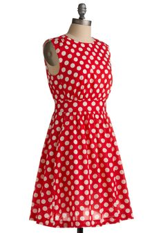 Too Much Fun Dress in Cherry. Theres probably no such thing as overloading on fun, but if such a thing were possible, why not go all out in this adorable dress? #red #modcloth