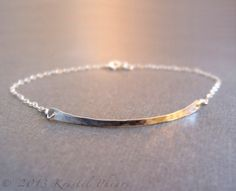 Silver Bar Bracelet - Eco-Friendly recycled hammered sterling or Gold-Filled delicate minimalist original jewelry design Mother's Day gift. $25.00, via Etsy.