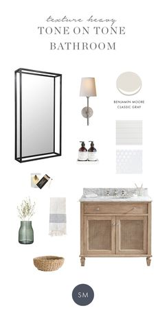 Shop Bryant Sconce, Kelly Mirror, Murchison-Hume Hand Duo, Monokle Candle, Lumberjack Matchbox, Walcott Hand Towel, French Mason Jar (similar), Cane Rattan Circle Baskets (similar) and more